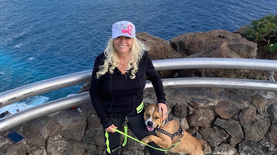 Beth Chapman Hikes with Dog