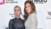 sophia hutchins wearing a blue see through dress with caitlyn jenner