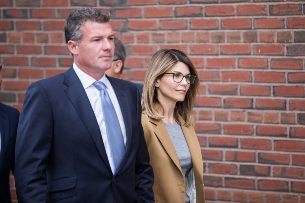 lori loughlin in a khaki suit at court
