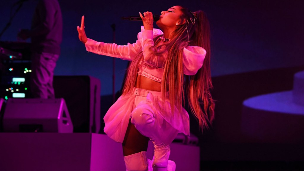 Ariana Grande Wearing a Pink Outfit on Her Tour
