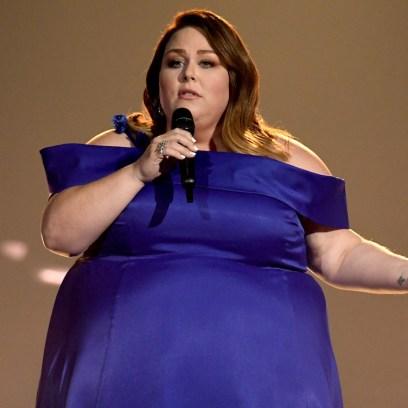 chrissy metz in blue dress