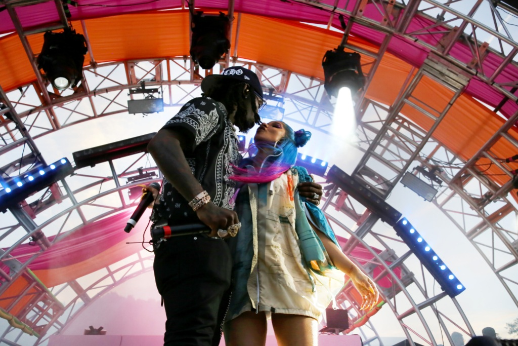 Cardi B rocking Rainbow Hair With Offset on Stage