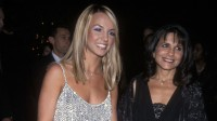 britney spears wearing a silver dress with her mom
