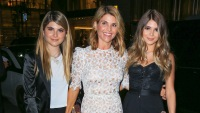 lori loughlin wearing a lace dress with her daughters