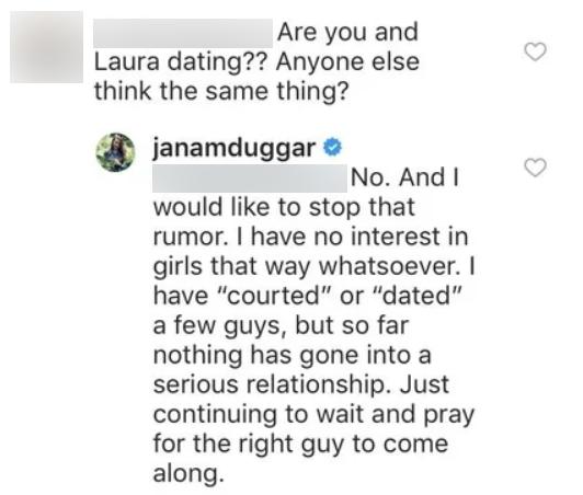 Jana Duggar Shuts Down Laura DeMasie Romance Rumors
