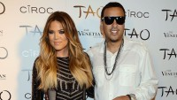 Khloe Kardashian Wearing a Black Dress with French Montana