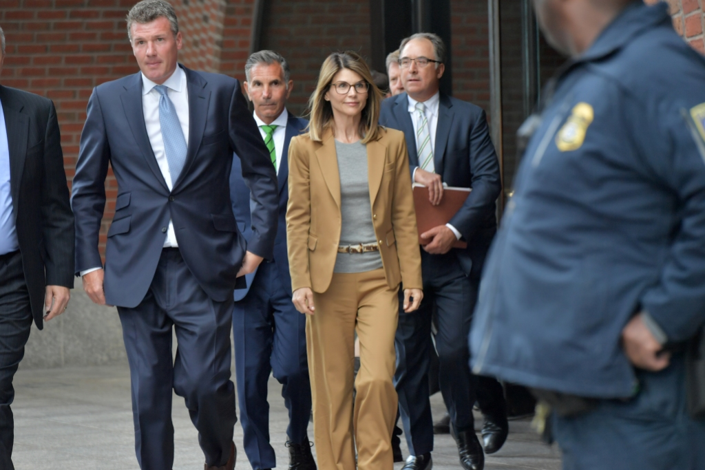 Lori Loughlin in a Brown Suit in Court