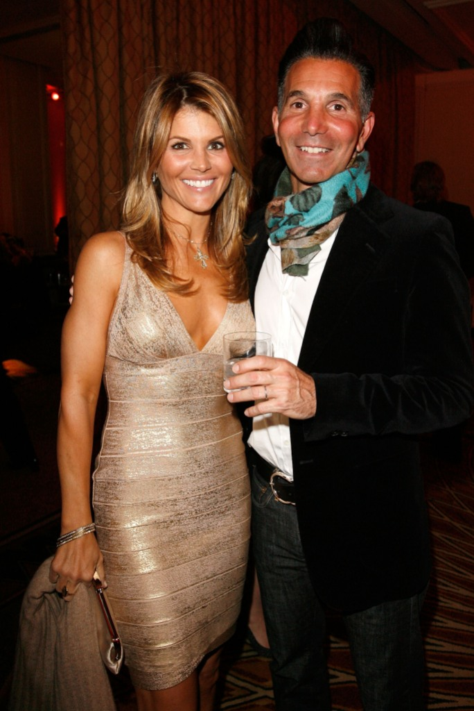 Lori Loughlin Wearing a Sparkly Dress with Mossimo in a Suit