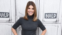 Lori Loughlin Wearing a Gray Suit at AOL Build in NYC