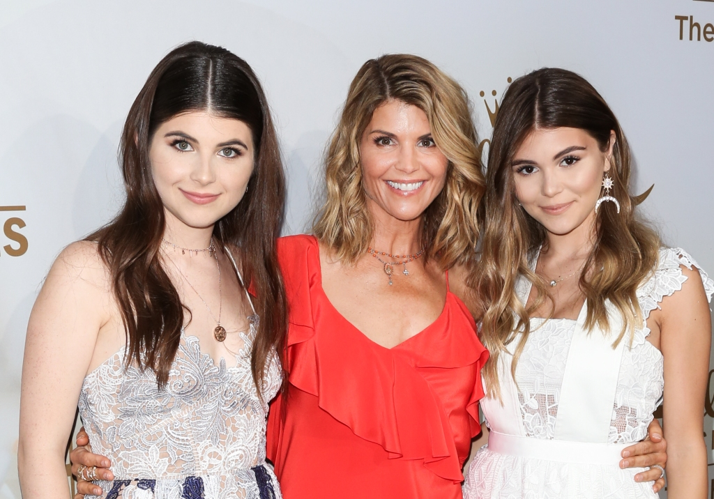 Lori Loughlin Wearing a Red Shirt With Her Two Daughters Isabella and Olivia Jade