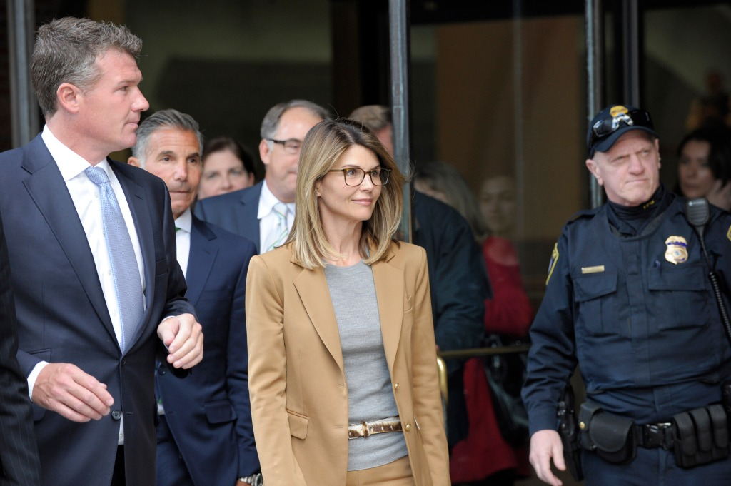 Lori Loughlin With a Lawyer Going to Court in Boston Wearing a Brown Suit