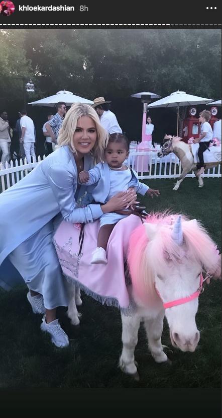 Khloe Kardashian blue dress True Thompson birthday pony rides