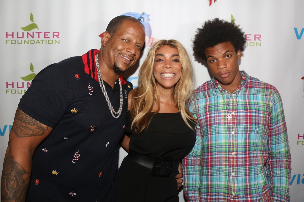 Wendy Williams With Her Husband Kevin Hunter and Kevin Jr. Wearing a Plaid Shirt
