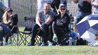 Ben Affleck with Jennifer Garner on a Soccer Field