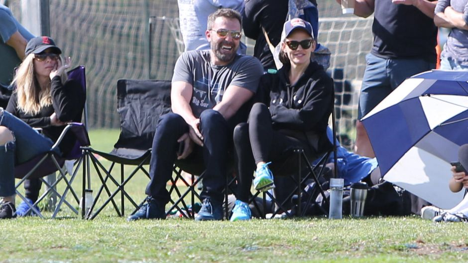 Ben Affleck with Jennifer Garner on a Soccer Field