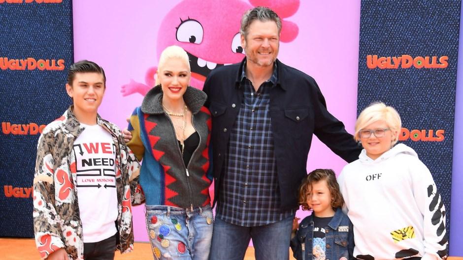 Gwen Stefani Blake Shelton and Their Kids at an Event