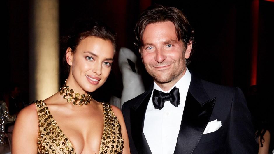 Irina Shayk Wearing a Gold Dress with Bradley Cooper at the Met Gala 2018