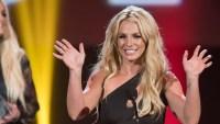 Britney Spears Wearing a Black Dress on Stage