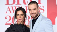 Cheryl Cole Wearing Black With Liam Payne in a Blue Suit