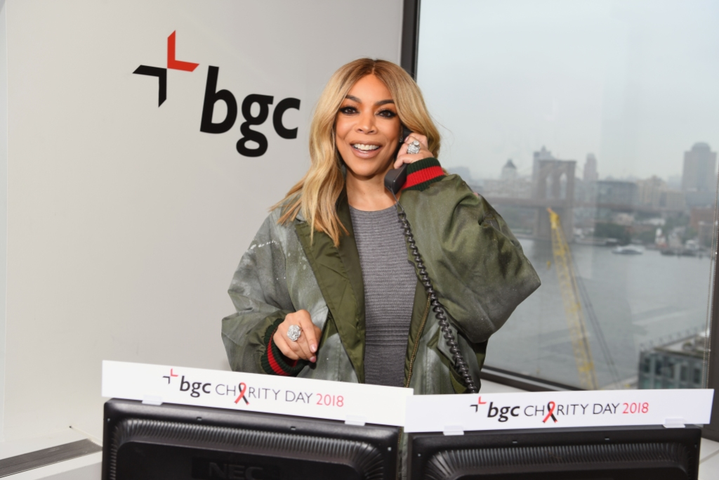 Wendy Williams on the Phone in a Gray Dress