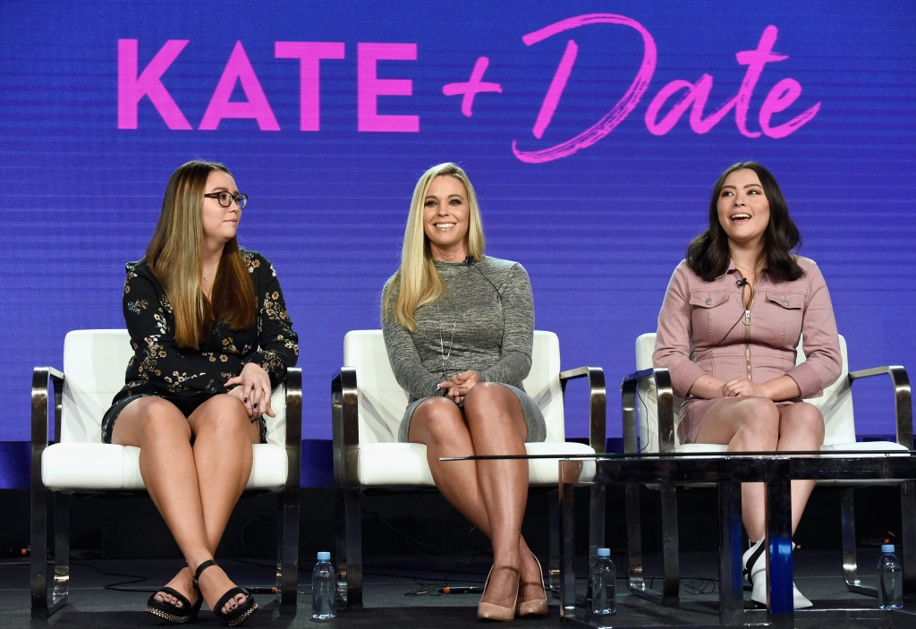 Kate gosselin Wearing a Sequin Dress with Mady and Cara