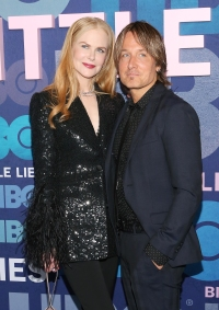 Nicole Kidman Wearing Black With Keith Urban in a Black Suit