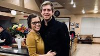 Joy-Anna Duggar and Austin Forsyth Smiling in Duggar Kitchen