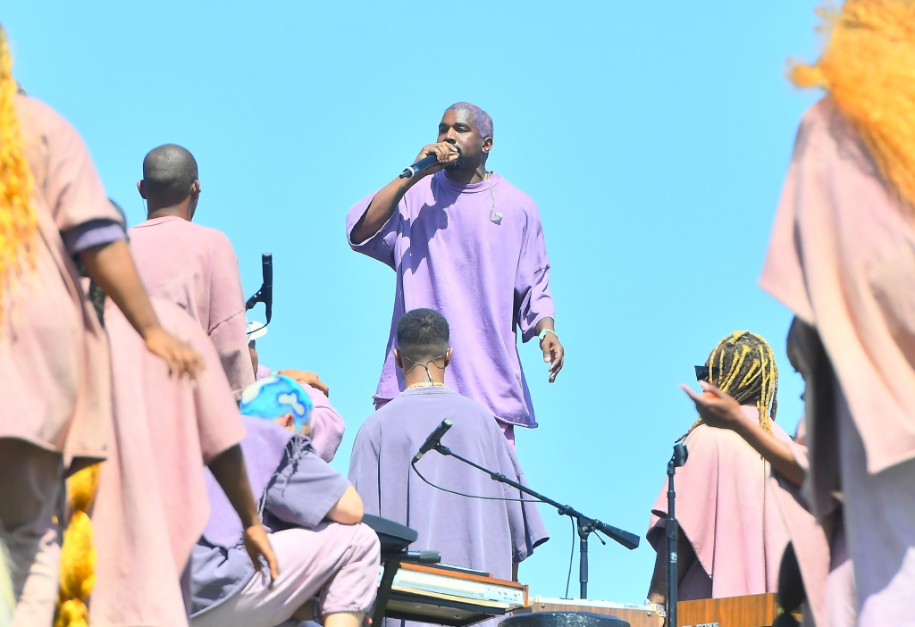 Kanye West Wearing a Purple Outfit At Sunday Service