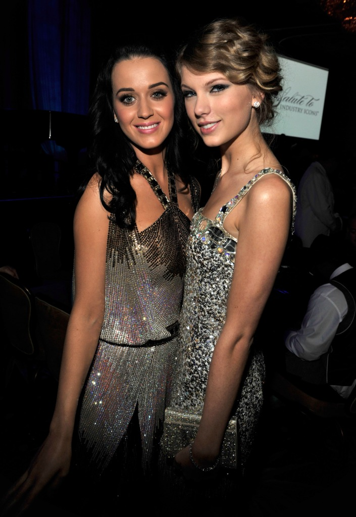 Katy Perry Wearing a Sequin Dress with Taylor Swift