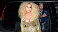 Khloe Kardashian Wearing Curly Hair and a Gold Dress