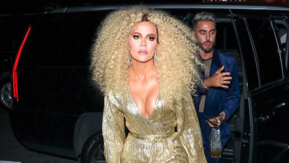 Khloe Kardashian Wearing Curly Hair and a Gold Dress