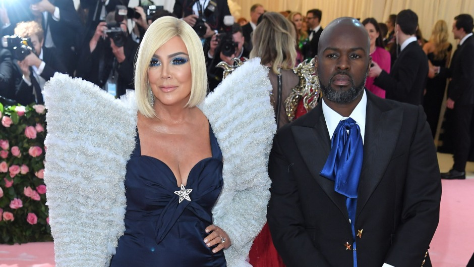 Kris Jenner Wearing a Blue Outfit With Corey Gamble