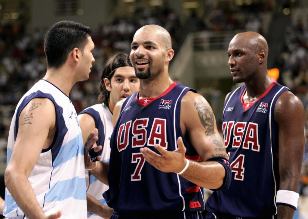 Lamar Odom Wearing a Team USA Jersey on the Basketball Court