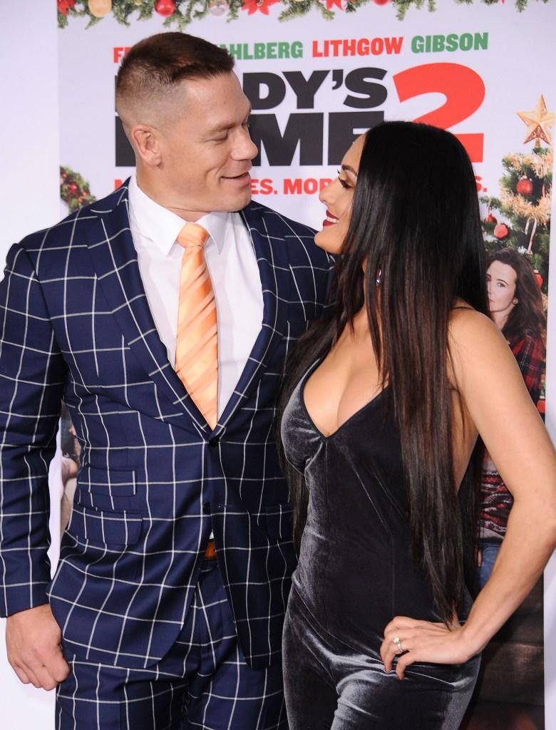 Nikki Bella Wearing a Velvet Dress with John Cena