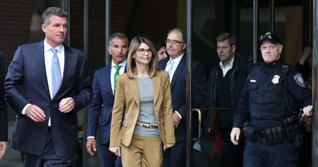 Lori Loughlin Wearing a Suit Coming Out of Court