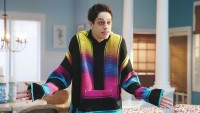 Pete Davidson Wearing a rainbow Sweatshirt
