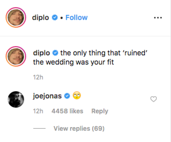 Diplo and Joe Jonas Exchange Comments on Instagram