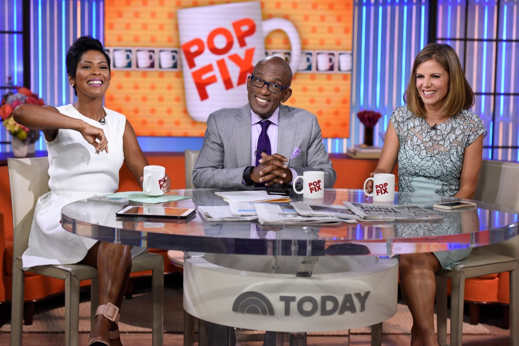 Tamron Hall Wearing a White Dress with Al Roker and Natalie Morales