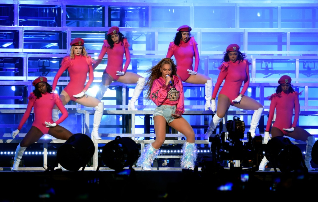 Beyonce Performing at Coachella Wearing Pink on Stage