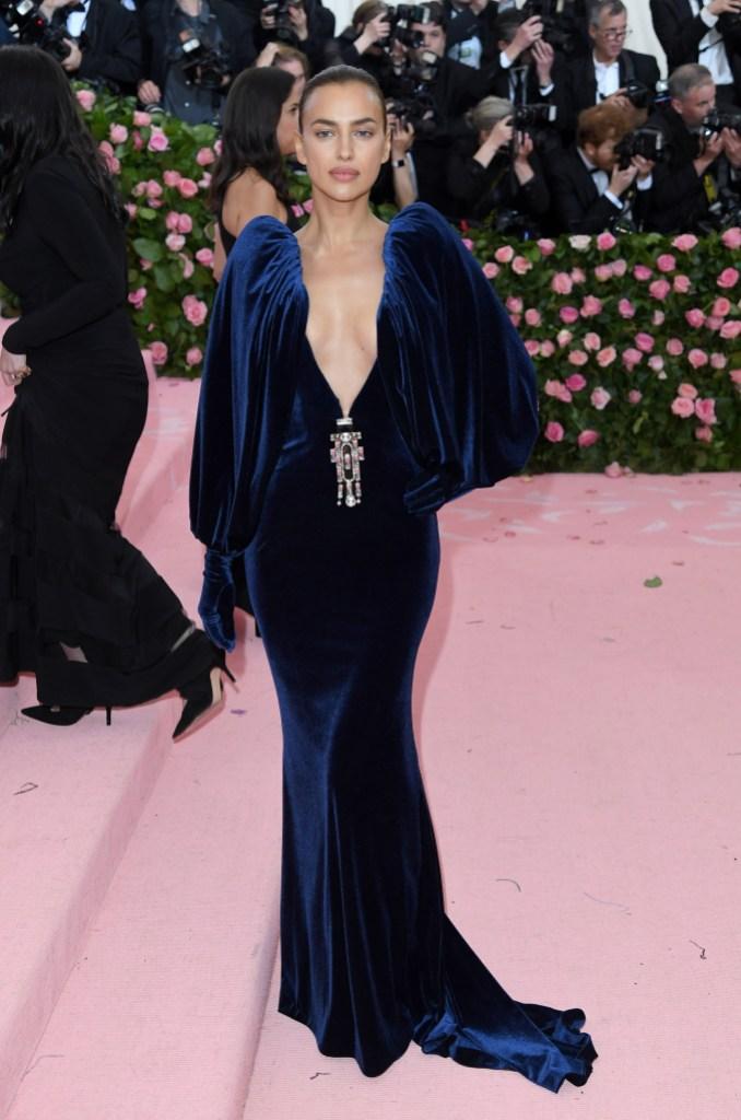 Irina Shayk Wearing a Blue Plunging Dress at the 2019 Met Gala