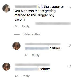 madison crane instagram comments jason duggar