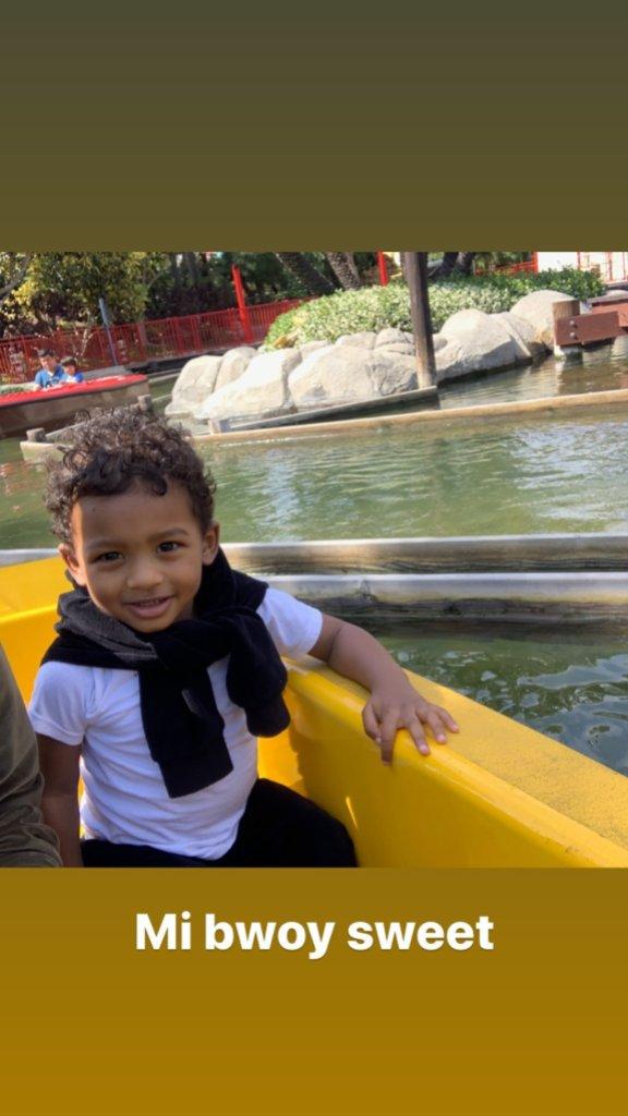 Tristan Thompson son Prince curly hair smiling boat jordan craig