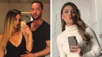 90 day fiance johnathan in a black v neck shirt and his new girlfriend in a low cut black dress fernanda in a white turtleneck sweater 90 day fiance jonathan seemingly shades ex fernanda