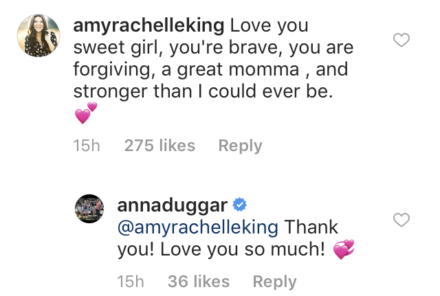 Amy Duggar Calls Anna Brave and Forgiving on Instagram