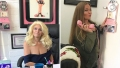 Split Photo of Beth Chapman Sitting At Her Desk and Cecily Chapman Answering Fake Phone Behind The Desk