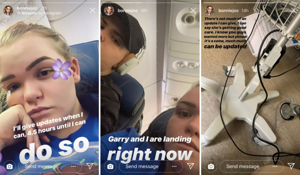 Screenshots of Bonnie Chapman's Instagram Story As She Takes Off, Lands, and Visits Her Mom in Hospital
