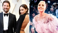 Lady Gaga Wearing Pink With Irina Shayk and Bradley Cooper