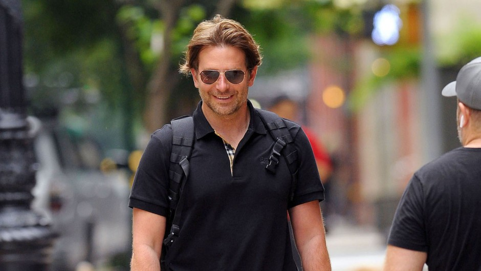 Bradley Cooper Wearing a Blue Shirt With Sunglasses in NYC