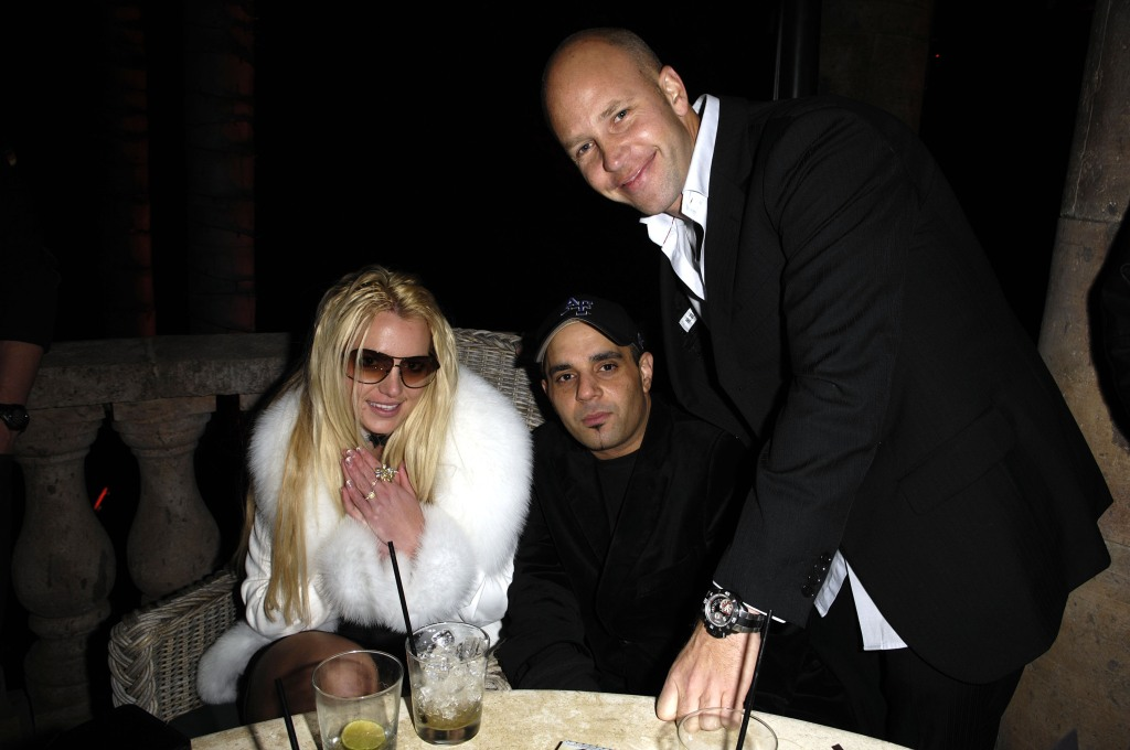 Britney Spears Wearing a White Coat a Club With Sam Lufti