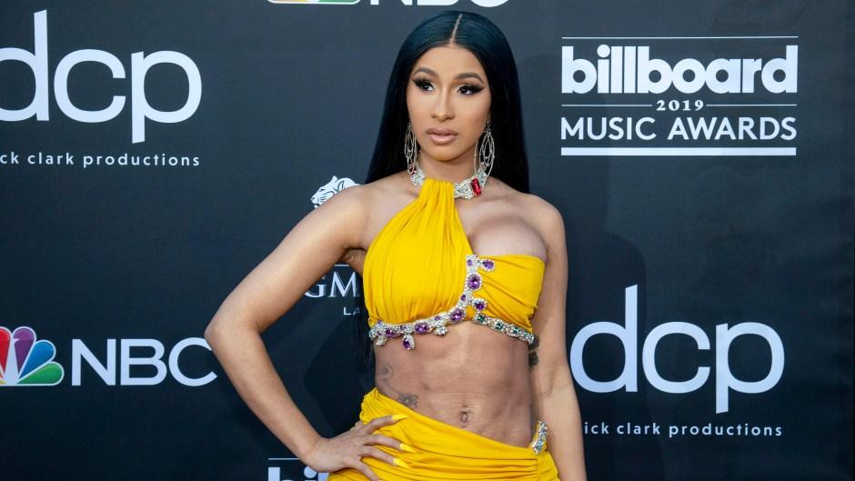 Cardi B Wears Ab-Bearing Yellow Two-Piece Dress at Billboard Music Awards